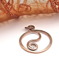 Hammered Copper Wire Pendant HandForged Jewelry by OzmayDesigns, $7.99