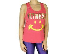Regatas Femininas | Regata Cavada Longa Fitness Smile Coral  Acesse: http://www.spbolsas.com.br/atacado/ #Regatas #Femininas #Atacado