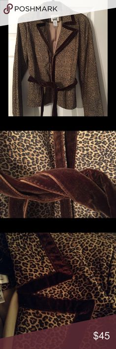 Vakko Sport animal print suede jacket Absolutely gorgeous leopard suede jacket from Vakko Sport, fully lined, Jacket is trimmed and brown velvet trim and has brown velvet belt that ties at the waist Vakko Sport Jackets & Coats