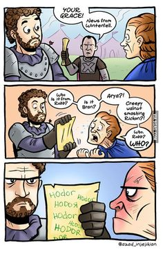 "Coiaf "" Dark wings, dork words"" Hodor - ASoIaF / Game of Thrones Game Of Thrones Witze, Game Of Thrones Comic, Game Of Thrones Funny, Sansa Stark, Game Of Thornes, Game Of Throne Lustig, Game Of Thrones Instagram, Dark Wings, The North Remembers"