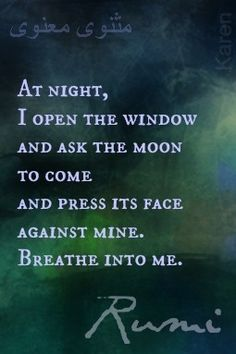 At night, I open the window and ask the moon to come and press its face against mine. Breathe into me. - Rumi