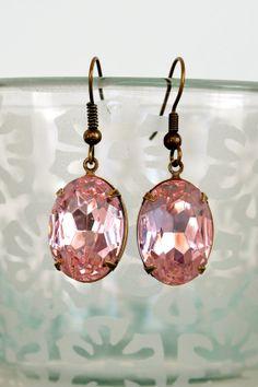 Glass Jewel Earrings Rosaline Pink Bronze by DebbieReneeVintage, $31.00