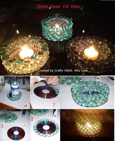 Glass Bead CD Vase Project Created by Crafty Witch Rita Luka    you need   Glass beads /stones  Glue E6000 or Epoxy Glue for glass   CD  candle or flameless LED candle    Directions  Simply Glue  Glass Bead/stones on the CD in a Circular pattern    Tip try colorful  Glass beads  and if you can find those colorful color rotating LED Flameless candles  this is a great Craft for kids to do this summer