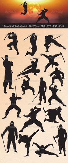 Ninja Silhouettes .This image is available on GraphicRiver. Ninja Silhouettes vector design. In this files include AI and EPS versions. You can open it with Adobe Illustrator CS and other vector supporting applications. I hope you like my design, thanks Assassin, black, character, clip art, fight, fighter, games, icon, japan, killer, logo, martial art, mascot, mask, ninja, samurai, shadow, sign, silhouette, spy, stealth, sword, symbol, template, vector, warrior, weapon