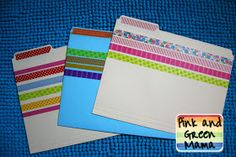 Washi Tape File Folders