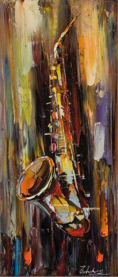 "Saatchi Art Artist Euro Asia Art; Painting, ""SOLD - Saxophone"" #art"