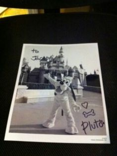 If you write a letter to a character at disney theu will send you and autographed picture back. ( Walt Disney World Communications PO Box 10040 Lake Buena Vista, FL 32830-0040)