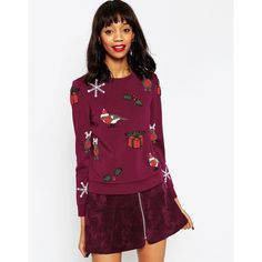 ASOS Christmas Jumper With Christmas Embellishment (125 AUD) ❤ liked on Polyvore featuring tops, sweaters, oxblood, jumper top, asos tops, embellished sweater, asos jumper and purple top