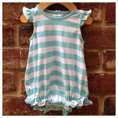 Sky Blue/White Striped Angel Sleeve Knit Bubble by Lambs in Ivy Basics - S/S