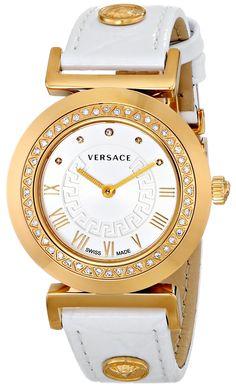 Versace Women's VLA050014 V-SIGNATURE Analog Display Swiss Quartz White Watch: Watches