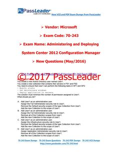 [May-2016] New PassLeader 70-243 Dumps with VCE and PDF
