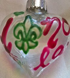 Belle Lafaye: Creations by Aria Mardi Gras, Hanukkah, Pearl, Hand Painted, Shapes, Christmas Ornaments, Purple, My Love, Holiday Decor
