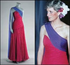 Princes Diana's Gown Called the Thailand Ball Gown, this fuchsia and purple chiffon dress was designed by Catherine Walker