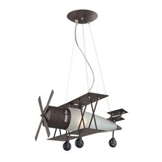 Elk Lighting 5084/1 Novelty 1 Light Bi Plane Pendant In Walnut And Satin Glass