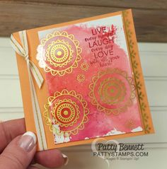 """Eastern Palace Gold Vinyl Stickers on Stampin' Up! cards by Patty Bennett. Watercolor background """"smoosh"""" technique."""
