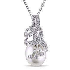 Add simplistic elegance with this womens pearl and diamond necklace. This pendant necklace features a single stunning white freshwater pearl, surrounded by breath-taking white diamonds, and finished with a polished sterling silver princess-length chain.