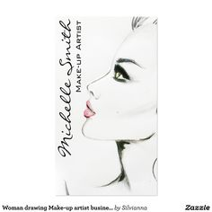 Woman drawing Make-up artist business card design Business Pens, Salon Business Cards, Makeup Artist Business Cards, Business Card Design, Business Card Templates, Makeup Artist Logo, Hair And Beauty Salon, Woman Drawing, Belle Photo