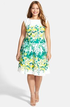 Floral Print Fit & Flare Dress (Plus Size) pair with yellow cardigan for the cutest Easter outfit.