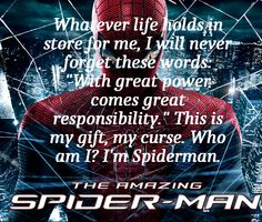 Spider man quote from Peter Parker.
