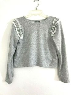 315e90c6 Zara women cropped Sweater Knit Gray Sz S Beaded shoulder Sequins 1061 #ZARA  #Pullover