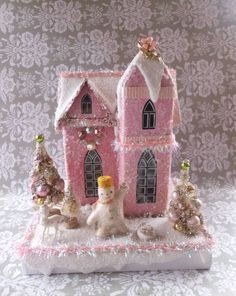 Vintage Christmas Pink Putz House with Bottle Brush Trees, Snowman and Deer