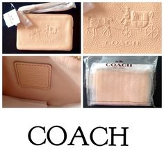 NWT Authentic Embossed Coach Wristlet  Authentic Coach  Embossed Horse & Carriage Coach L-Zip wristlet in leather.  Two credit card pockets inside.  Strap with a clip to use as a wrist strap or attach to the inside of a bag. The color is apricot and it's so pretty  〰〰〰〰〰〰〰〰〰〰〰〰〰〰 If you are going to make an offer don't bother if you're going to lowball it. It's a ridiculous waste MY of time‼️ Coach Bags Clutches & Wristlets