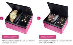 Kit com Relógio Feminino Lince  Par de Brincos e Gargantilha - 6 Modelos Diferentes << R$ 7191 em 2 vezes >>