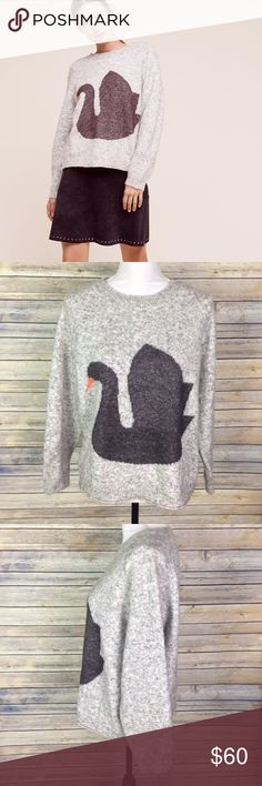 """Anthropologie Hansel From Basel Swan Sweater Hansel from Basel for Anthropologie black swan pullover sweater. Size Medium.  45% Nylon / 31% Acrylic / 24% Wool  Measurements while laid flat: Armpit to armpit: 23.5"""" Armpit to end of sleeve: 14.5"""" Back shoulder to bottom hem: 22.5""""  (Inventory F) Anthropologie Sweaters Crew & Scoop Necks"""