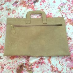 Leather Portfolio Beautiful portfolio with metal hinges running through top. 2 pockets. Perfect for photographer or freelance hair or makeup artist! Bags
