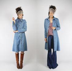 70s vintage Landlubber Denim Dress Coat