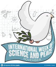 Dove, Ribbon And Olive Branch For Science And Peace Week, Vector Illustration Stock Vector - Illustration of benefit, drawn: 131404384 Doodle Background, Science Week, Benefit, Doodles, Ribbon, Peace, Draw, Illustration, Happy