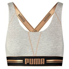 PUMA Bustier, Crossback ($21) ❤ liked on Polyvore featuring activewear, white bustier, gold bustier and logo sportswear
