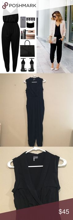 Chic Cropped Jumpsuit! This Sparkle and Fade/ Urban Outfitters Jumpsuit is so chic! Great for a night out with girls! Pair with heels, belt, and a statement necklace for an ultra cool look! Elastic waist band, front pockets, plunging v-neck, cropped pant legs. Soft and comfy material! Sparkle & Fade Pants Jumpsuits & Rompers