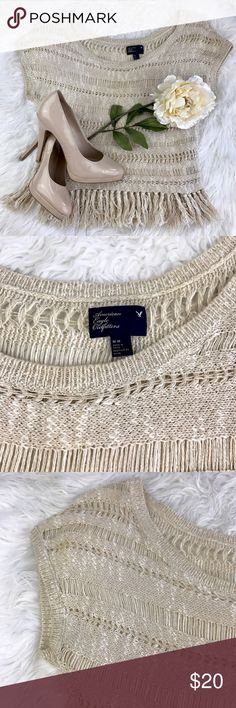"💕SALE💕American Eagle Outfitters Taupe Fringe Top Gorgeous American Eagle Outfitters Taupe Fringe Top 23"" from the top of the shoulder to the bottom 20"" from armpit to armpit American Eagle Outfitters Tops"