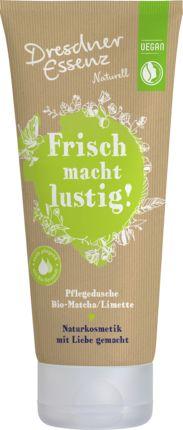 Für gute Laune unter der Dusche: Das Duschgel Naturell Frisch macht lustig von Dresdner Essenz wirkt erfrischend mit Bio-Matche/Limette und dem fruchtig-sp...