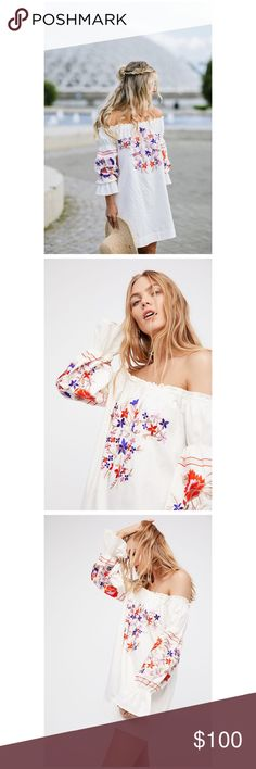 """Free People Embroidered Mini Dress-Tunic Beautiful mini dress featuring a simple shift silhouette with enchanting garden-inspired embroidery allover and a femme off-the-shoulder neckline.  Elastic at the neckline and sleeves for comfortable wear Puffed sleeves with bell-shaped cuffs 100% Cotton Machine Wash Cold  Measurements for size Small Bust: 46.5"""" = 118.11 cm Length: 28"""" = 71.12 cm Sleeve Length: 22.75"""" = 57.79 cm Free People Dresses Mini"""