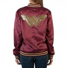 Wonder Woman Bombshell Bomber Jacket-reminds me of my school jacket which is still have, although it is so worn. Wonder Woman Movie, Wonder Woman Logo, Fandom Fashion, Geek Fashion, Moda Geek, Satin Jackets, Jackets For Women, Clothes For Women, Blazers For Men