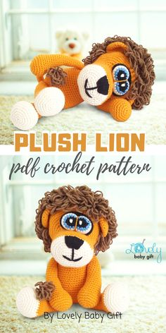 Crochet pattern to make a cute plush amigurumi lion toy. This zoo animal toy will be a perfect friend for a child or as decor in a safari animal themed nursery room. Amigurumi pattern is easy to follow and has many detailed pictures to help you on the way. #amigurumipattern #lioncrochet #lovelybabygift #haakpatroon Crochet Animal Patterns, Crochet Patterns Amigurumi, Crochet Animals, Crochet Dolls, Crochet For Boys, Diy Crochet, Themed Nursery, Nursery Room, Lion Toys