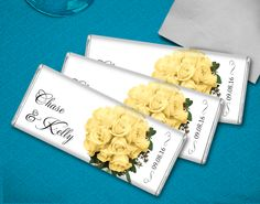 Yellow rose themed candy bar wedding favors - Perfect for a rose themed candy buffet!