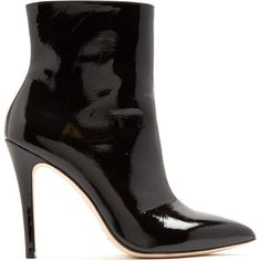 Alexachung Point-toe patent-leather ankle boots (€260) ❤ liked on Polyvore featuring shoes, boots, ankle booties, shoes - boots, black, black pointed toe booties, black patent leather boots, black booties, black stiletto booties and black ankle booties