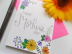 Mother's Day Card  Card for Mom  Birthday by happydoodlesbykatie