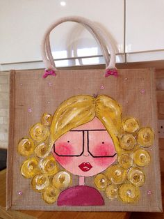 Large hand painted girly fairy jute bag by DollyandDuck on Etsy Painted Bags, Hand Painted, Art Deco Cards, Tilda Toy, Personalized Tote Bags, Burlap Crafts, Quilling Cards, Jute Bags, Tote Pattern