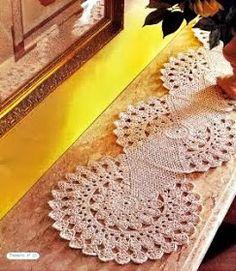 caminho de mesa em croche com receita