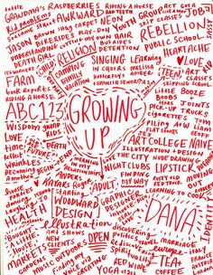 Growing up brainstorm or doodle out your life ~ reminds me of a mind map.