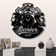 Barber Shop Wall vinyl record clock, Best Gift for Home Decor Barber Shop Interior, Barber Shop Decor, Records Diy, Barbershop Design, Vinyl Record Clock, Wall Clock Design, Clock Art, Unique Wall Clocks, Craft Show Ideas