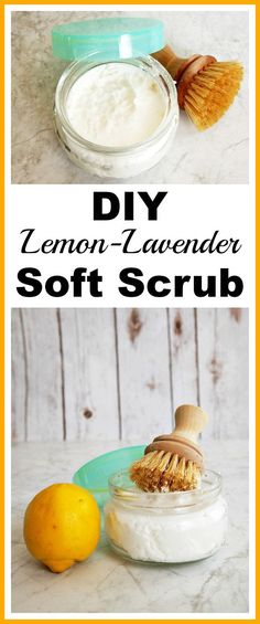 DIY All-Natural Soft Scrub Cleaner- You can make your sinks, countertops, tile, and grout shine without any chemicals! Just make this lemon-lavender DIY all-natural soft scrub cleaner! Natural Cleaning Recipes, Cleaning Tips, All Natural Cleaning Products, Natural Products, Cleaners Homemade, Diy Cleaners, Household Cleaners, Garbage Disposal Cleaner, Homemade Cleaning Products