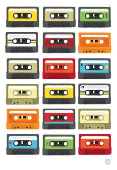 Retro Colourful tape cassette art print by myretronest Retro Art, Retro Vintage, Casette Tapes, Ps Wallpaper, 80s Theme, Vinyl, Print Patterns, Illustration Art, Art Prints