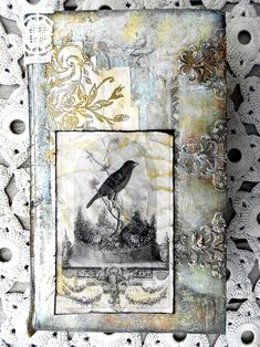 Altered box. Would make a great journal cover. Bird graphic by The Graphics Fairy. Lovely! Altered-Box-vintage-shabby-6.jpg (650×867)