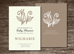 Baby Shower Invitation initial (W) by aticnomar on Creative Market