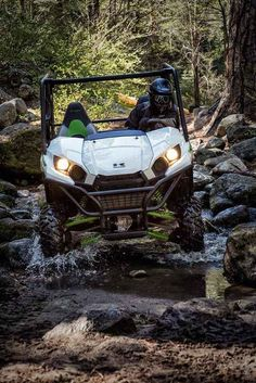 "New 2016 Kawasaki Teryx® ATVs For Sale in Texas. The redesigned Teryx® side X side takes the combination of sport performance and essential utility to unprecedented levels. 783cc V-Twin engine with strong mid-range power delivery Sporty new front end styling with LED headlights Durable ""Double-X"" frame construction Tilt steering, Electric Power Steering (EPS) and tight 16.7-ft turning radius Fox Podium Piggyback shocks to soak up bumps Two automotive-style doors and comfortable…"